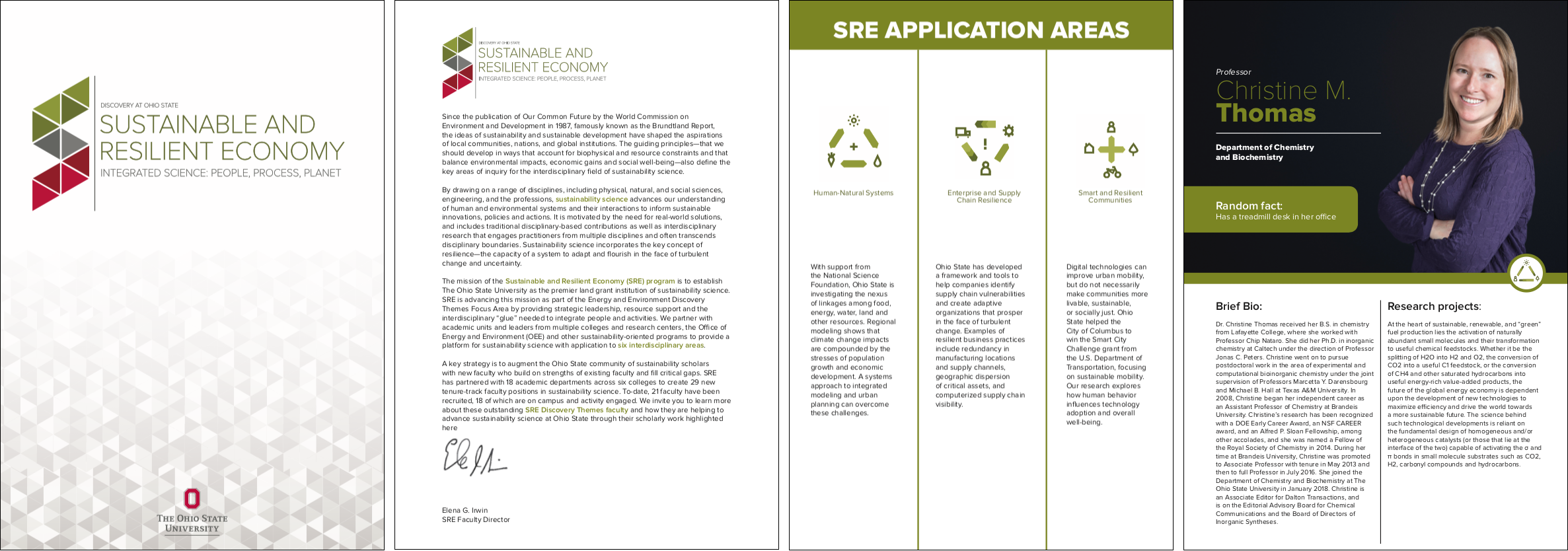 The Ohio State University, Sustainability & Resilient Economy Networking Brochures  Concept and design with InDesign; Photography