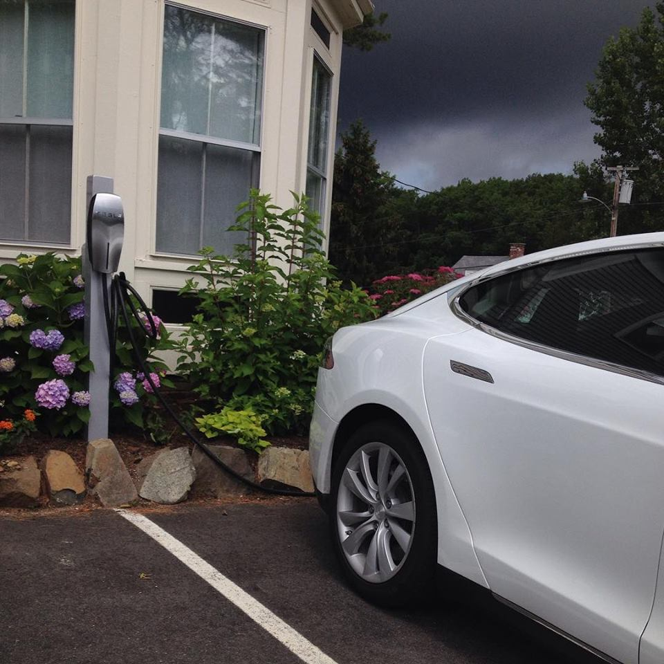 Tesla charging station at the Inn at English Meadows in Kennebunkport, Maine