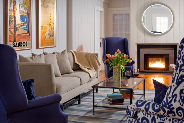 Sit beside a lovely warm fire in the living room at the Inn at English Meadows, Kennebunkport, ME