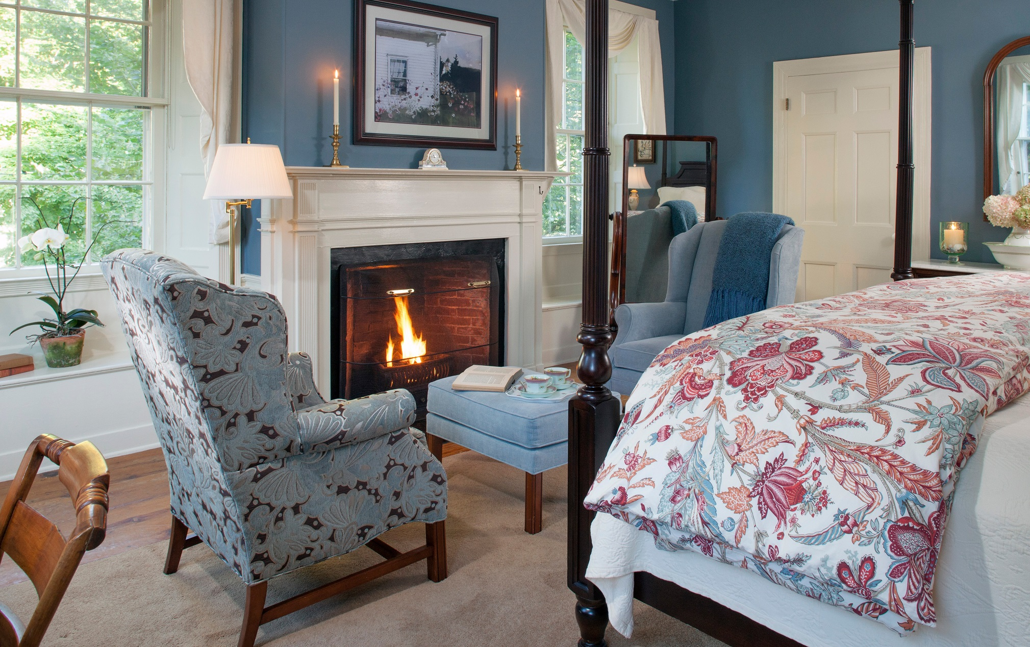 One of the favorite things to do during the off season is sit in front of the fire with a good book and a cup of tea. Photo taken at Captain Jefferds Inn.