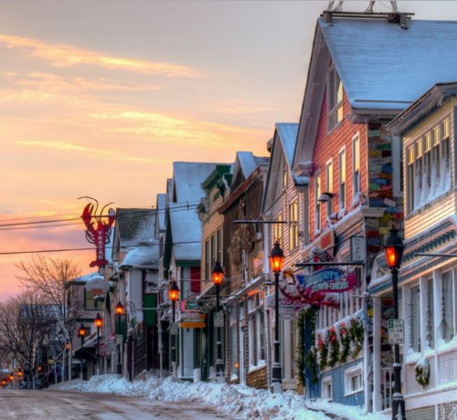 Winter is a peaceful time in Bar Harbor. Photo provided by Bar Harbor Chamber of Commerce