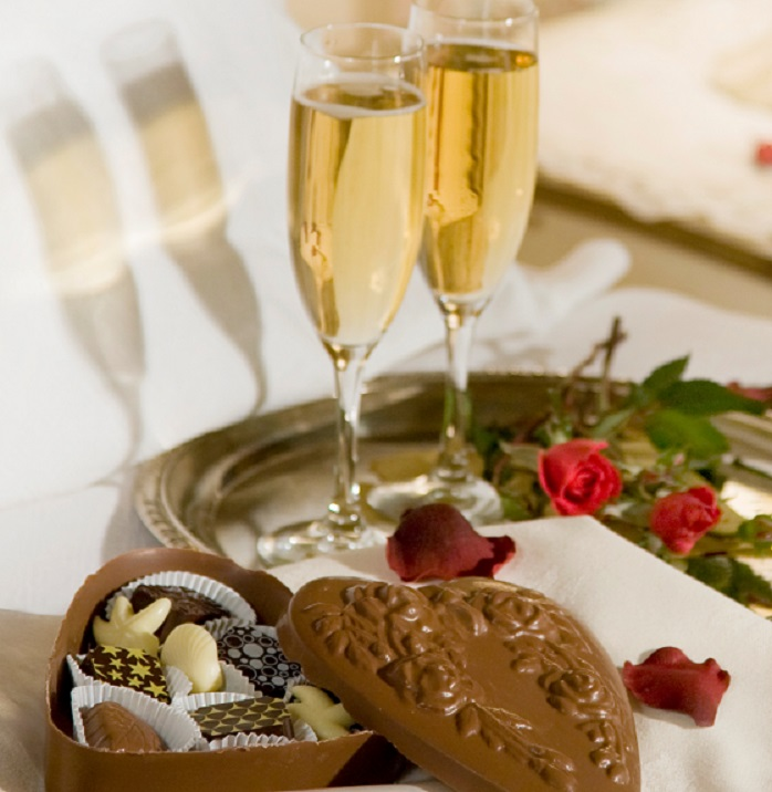 Champagne and chocolates add to the romance. Photo from Berry Manor Inn. Jumping Rocks photo.