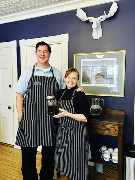 Dave and Kelleigh, your smiling innkeepers at Brewster House Inn in Freeport.
