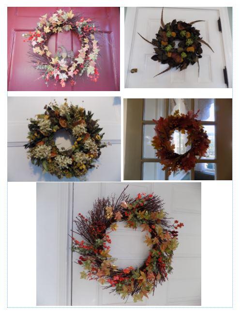 Fall wreaths at Captain Jefferds Inn, Kennebunkport, ME