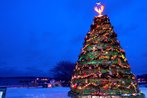 Rockland, Maine's fabulous Lobster Trap Christmas Tree. Photo by PJ Walter Photography.