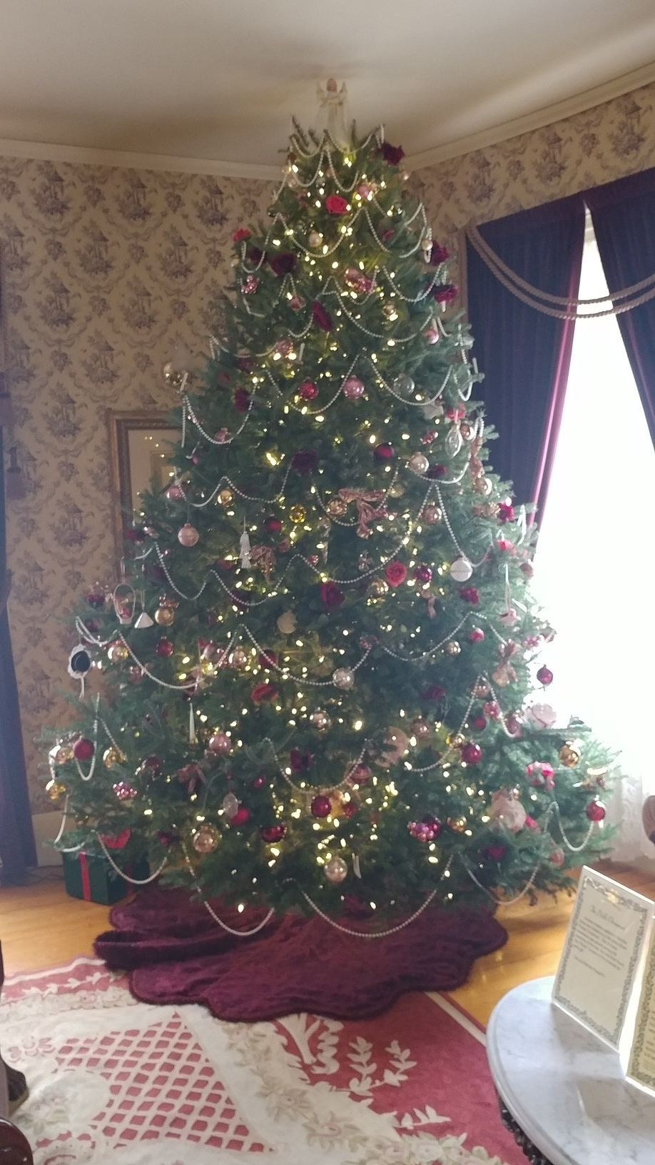 And the highlight is the grand Christmas Tree in the parlor.