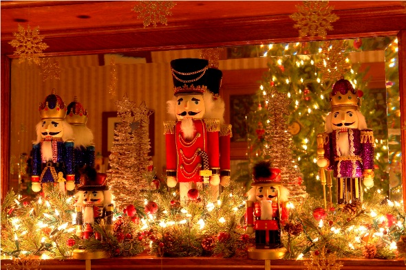 Stately and tall, these nutcrackers guard the LimeRock Inn's mantle. Credit: PJ Walter Photography.