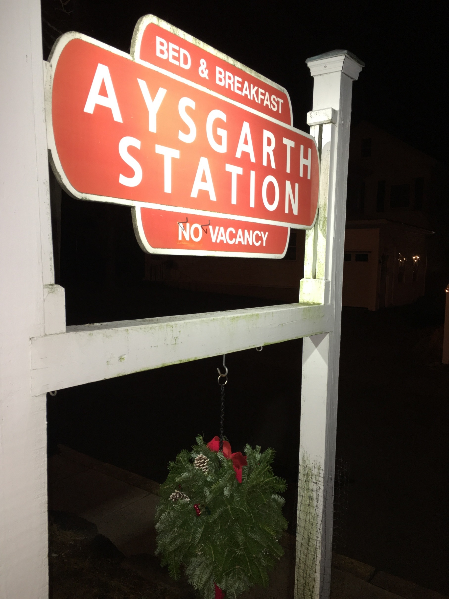 Look for the wreath hanging from the sign and you'll find Aysgarth Station!