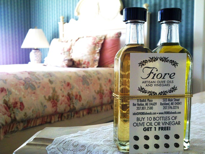 Fiore Artisan Olive Oils and Vinegars are available at many of the Inns Along the Coast for guests to enjoy. Photo taken at LimeRock Inn by PJ Walter Photography.