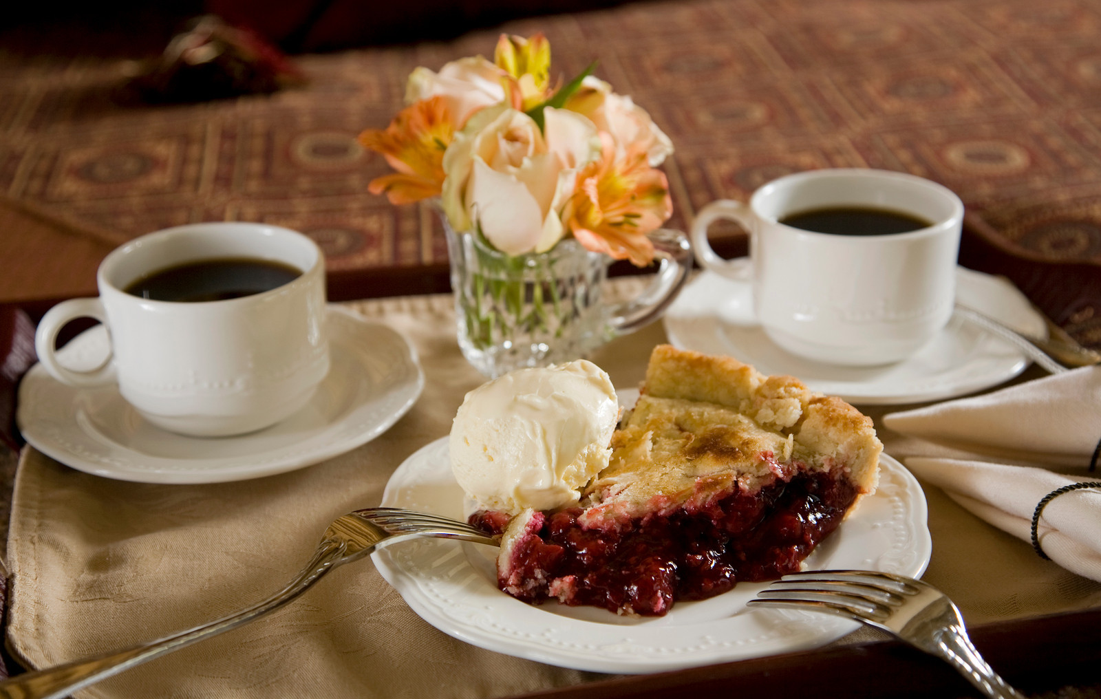 Homemade pie served every night at Berry Manor Inn.