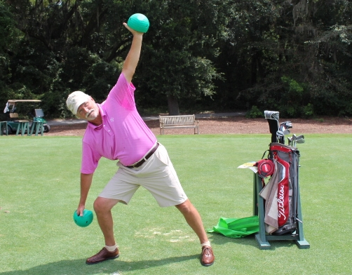 Warm up with Greenbellsfor 10 minutes before you tee off and you'll be bombing the ball in no time.