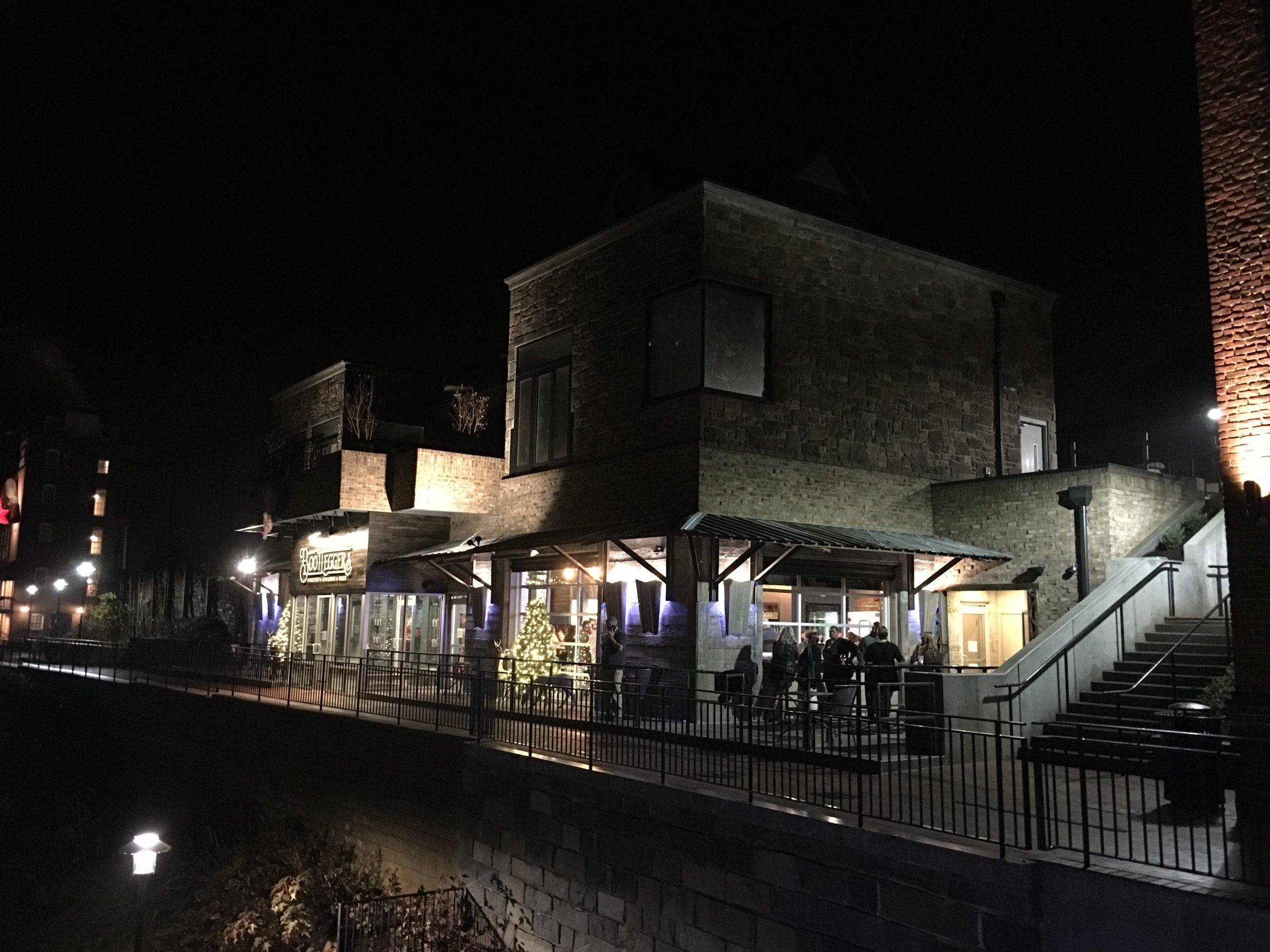 Night shot on bluff walk downtown Lynchburg VA. See photo planned proposal rendering one at top of page.