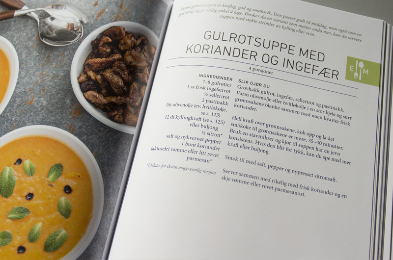 Se etter det grønne ikonet til høyre på oppskrifts sidene i boka  LavFODMAP - Magevennlig mat  for oppskrifter som er ekstra magevennlig.