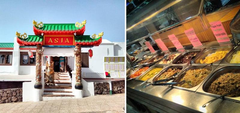 Det var overaskende mange asiatiske restauranter på Lanzarote - og de var både billige og gode! Velger du kinesisk buffe kan du som regel plukke rått kjøtt, skalldyr og fisk som de steker for deg mens du venter. Spise med feks ris eller risnulder og en god saus! Foto: Espen Døhlen