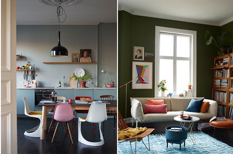 Fargerikt og koselig på kjøkkenet og i stua. Foto: Oslo Design Fair ved Siren Lauvdal