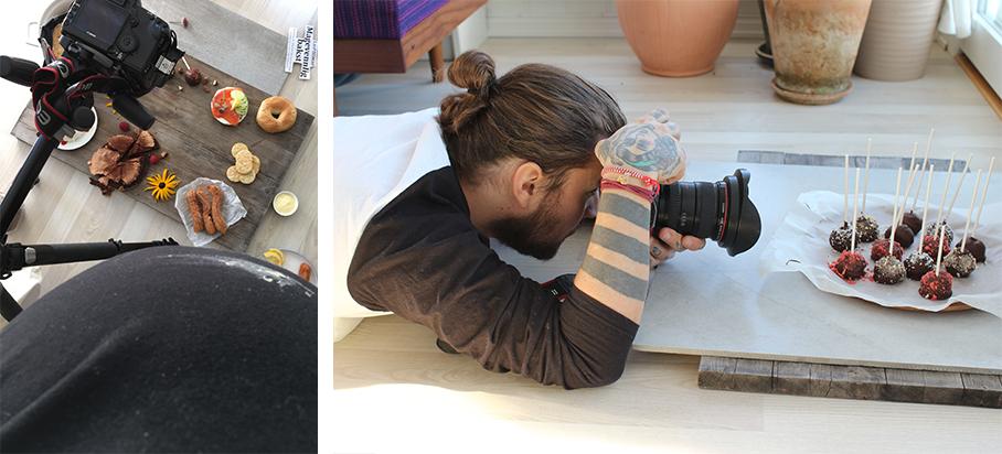Behind the scene: Det var bare to uker igjen til fødesel da vi tok bilder til forsiden av boka. Stor mage resulterte i at jeg stort sett alltid hadde noe søl på magen. Espen tok heldigvis mye av styringa for både styling og art direction denne gangen, her ser dere han fotografere Cakepops!