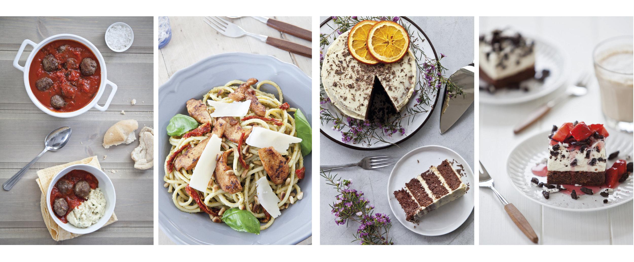 Bilder fra bøkene LavFODMAP - Magevennlig mat og Magevennlig bakst.