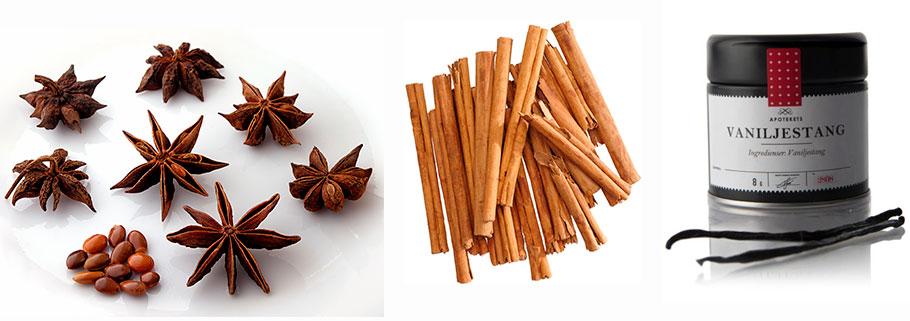 Krydder som Vaniljestang, stjerneanis og kanelstenger får du kjøpt i daglivarere med godt utvalg, eller feks påTGR/  Flying tiger of Copenhagen . Vaniljestangen på bildet er fra  Apotek 1.