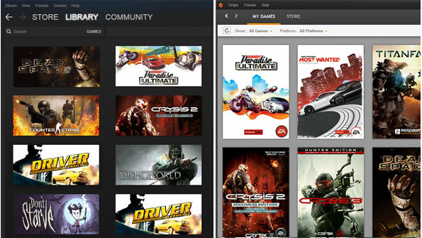 Examples of my Steam and EA Origin accounts on PC