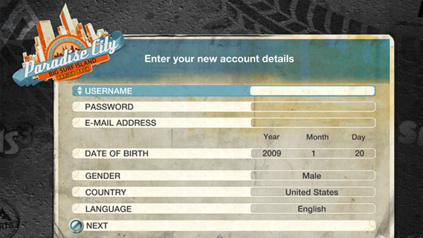 Creating an EA account in Burnout Paradise: The Ultimate Box.