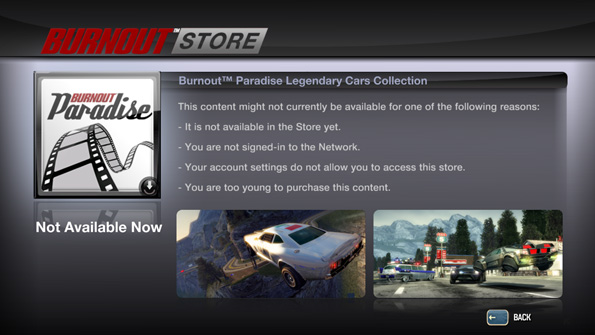 The Burnout Store for PC, sadly no longer functioning