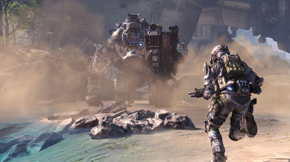 A Pilot running to engage a Titan in Titanfall. Image courtesy of Titanfall.com.