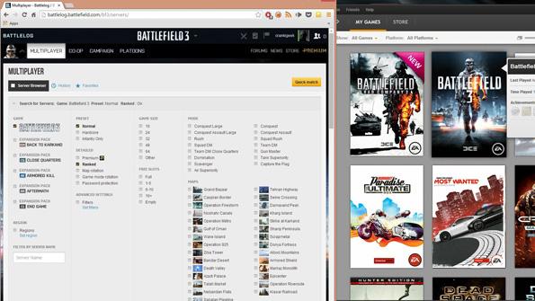 Using the Battlefield Battlelog for Battlefield 3 via the Google Chrome browser for Windows.
