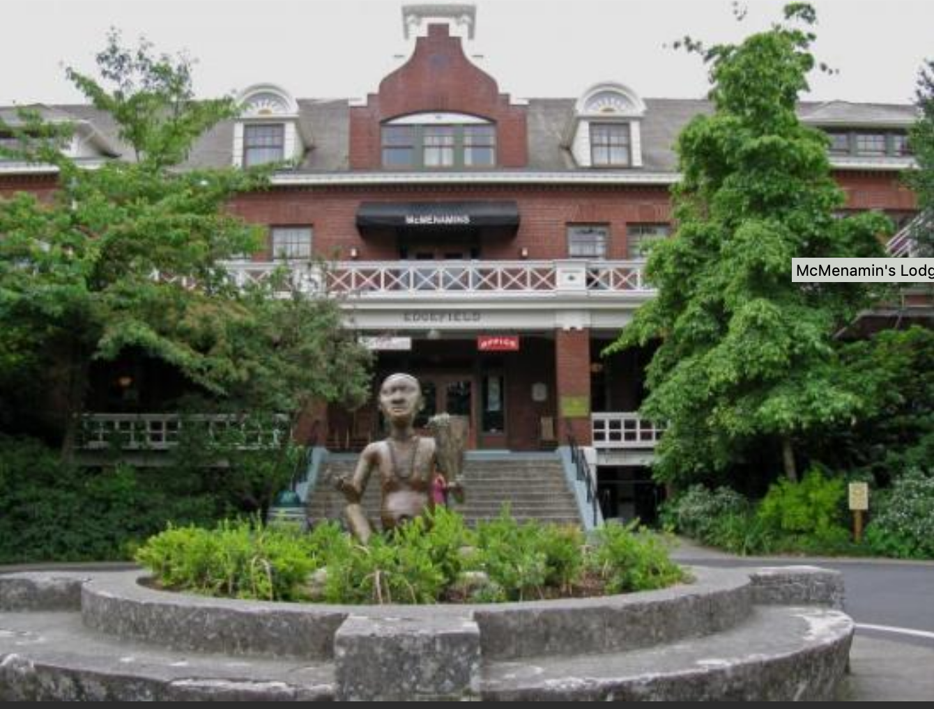 THE MANOR THAT ONCE HOUSED THE IMPOVERISHED AND NURSING HOME RESIDENTS IS NOW A 100-ROOM HOTEL AT MCMENAMIN'S EDGEFIELD, A DESTINATION RESORT NEAR PORTLAND, OREGON.