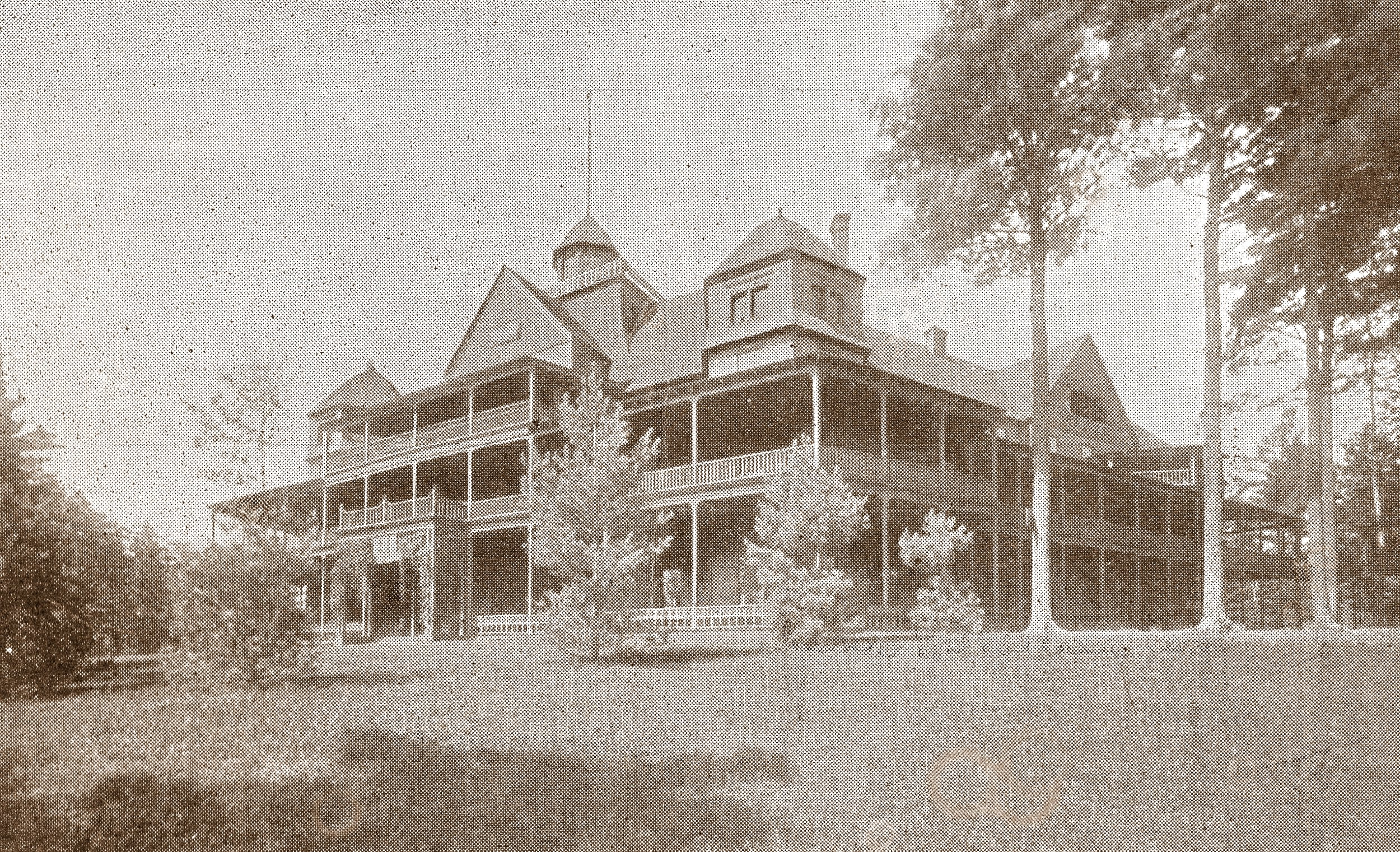 THIS PHOTO SHOWS THE HOTEL BALMORAL ON THE SUMMIT OF MT. MCGREGOR IN 1897 THE YEAR IT WAS LOST TO FIRE.