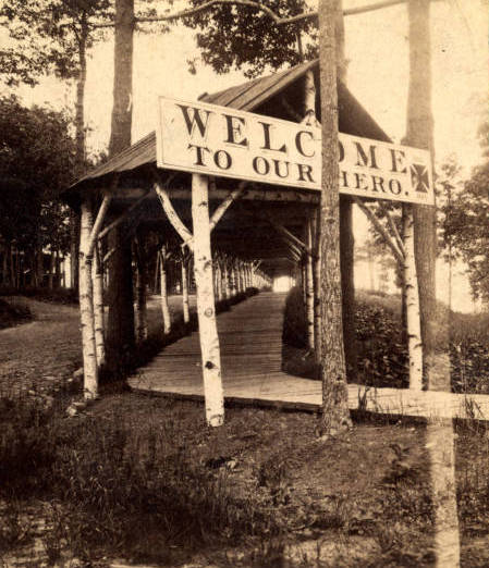 THIS RUSTIC WALKWAY LED VISITORS FROM THE RAIL PLATFORM JUST BELOW GRANT COTTAGE UP TO THE HOTEL BALMORAL. THE SIGN WELCOMES ULYSSES S. GRANT, WHO ARRIVED IN MID JUNE 1885 AND DIED FIVE WEEKS LATER.