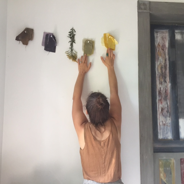 Katrina hanging samples of natural dyed fibers in the studio, from her Medicinal Dye Workshop