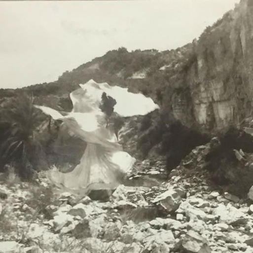 Study of Loie Fuller in Atlas Mountains. Carbon Print, Digital Negative from iphone photo of Atlas Mountains., 2018.