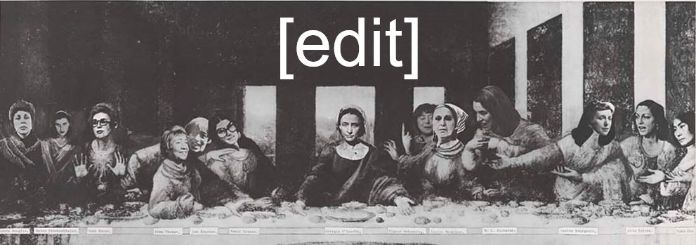 Art + Feminism Wikipedia Edit-a-Thon Last Supper header by Michael Vetter