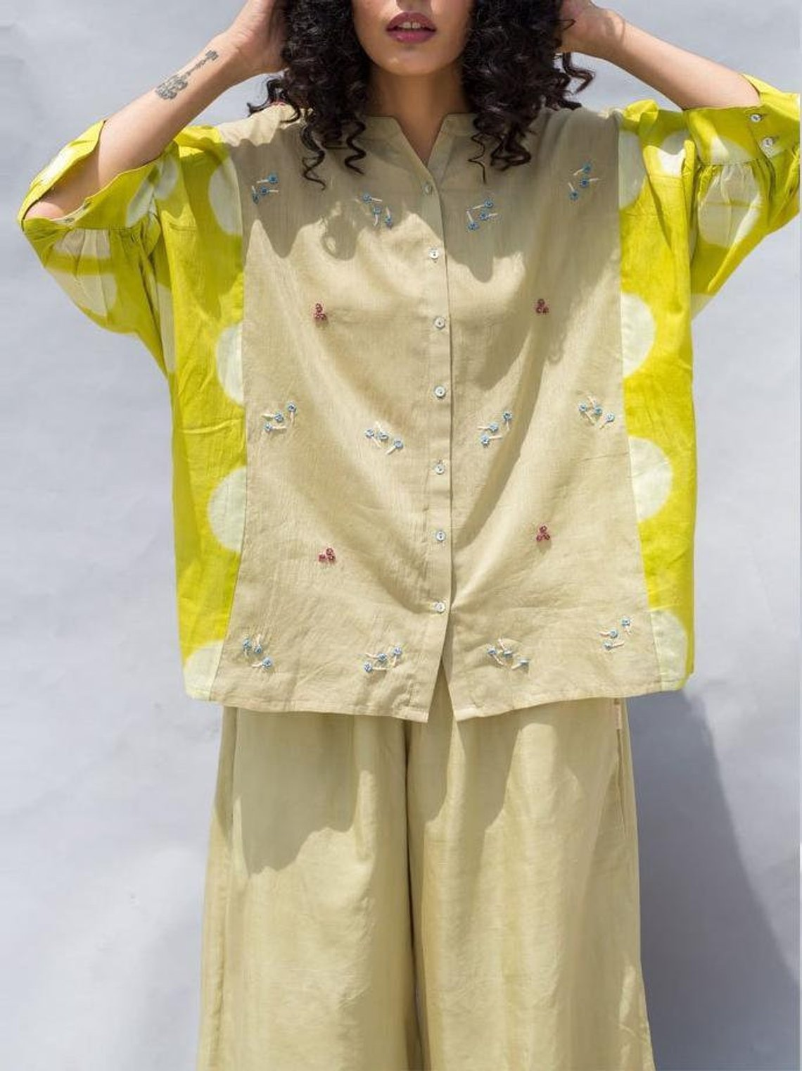One of a kind— silk cotton shirt,  cuz we need sunshine style