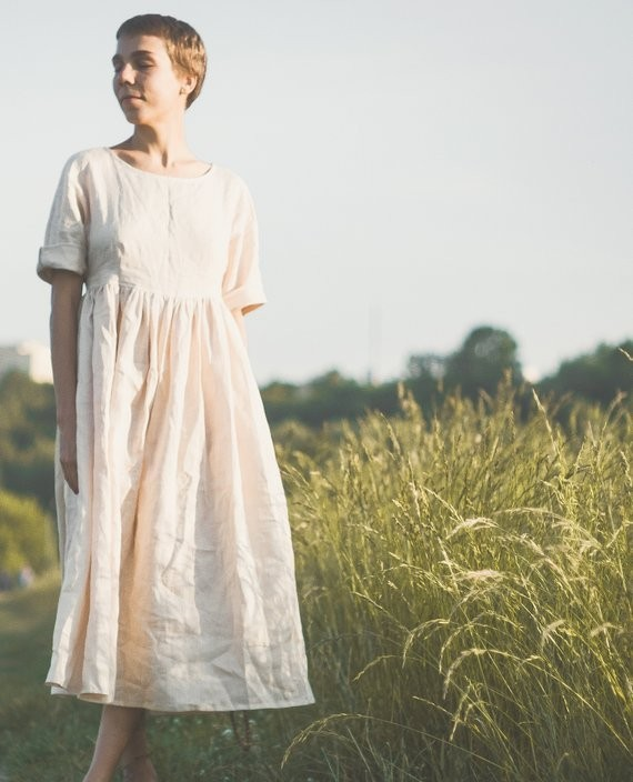 Linen Dress —Hand made in natural flax but you can custom order with other materials-with love and beauty from Russia. Material: organic soft stonewashed flax linen (handwoven), pearl buttons. Dreamy.