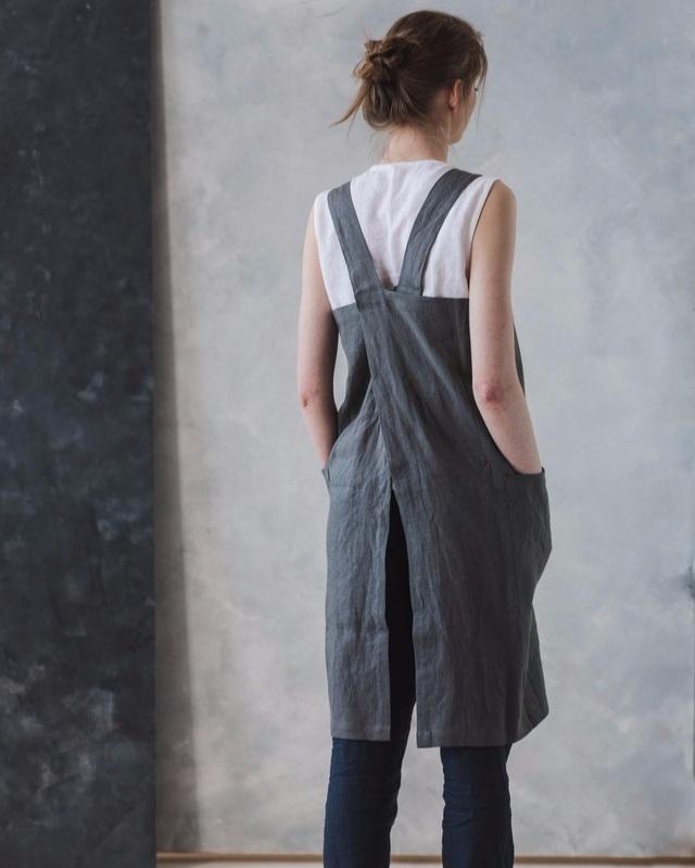 Linen apron , made to order. Modern women work wear.