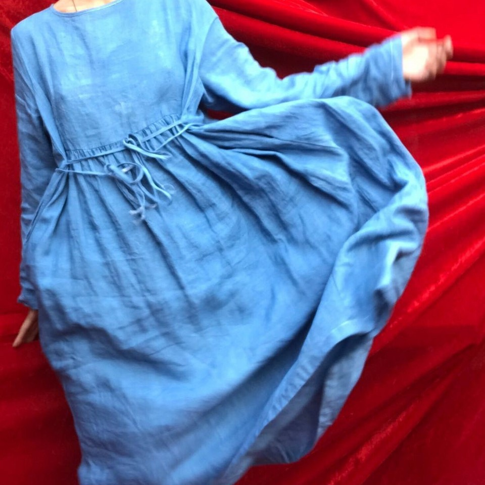 Like a cloud—this handmade hand-dyed  indigo dress . It's not too early to dress like spring.
