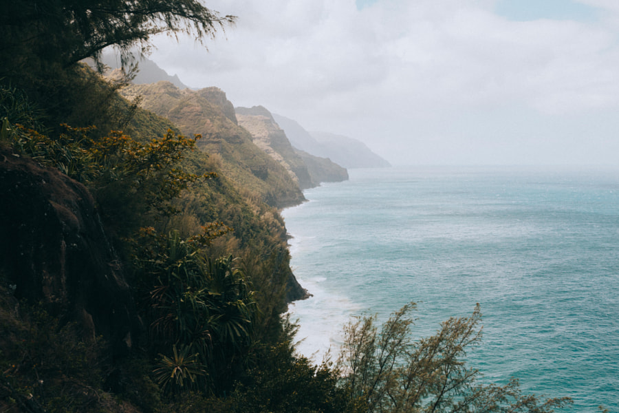 Trekking along the NāPali Coast.