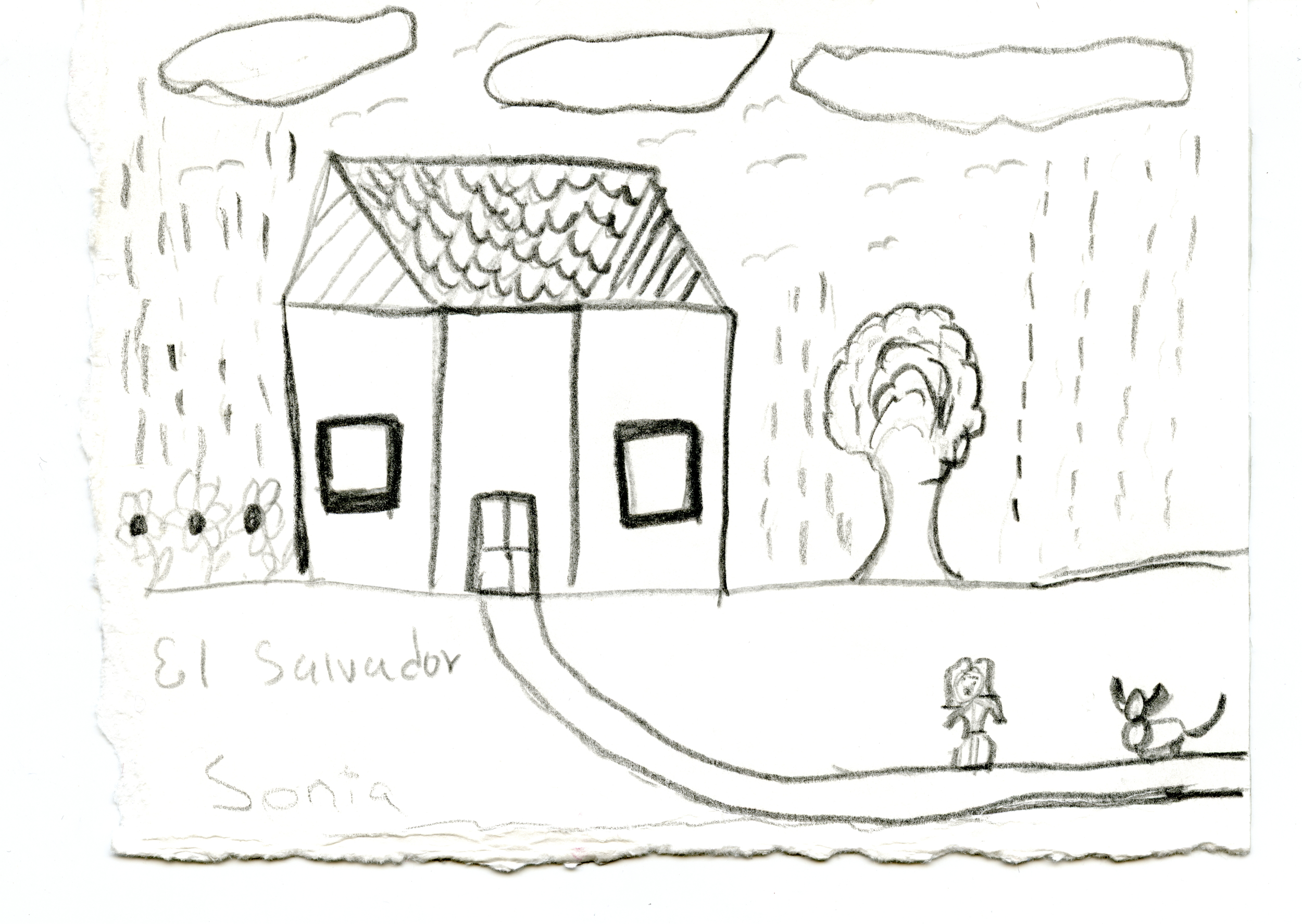 Drawing of her home in El Salvador contributed by Sonia Estrada.