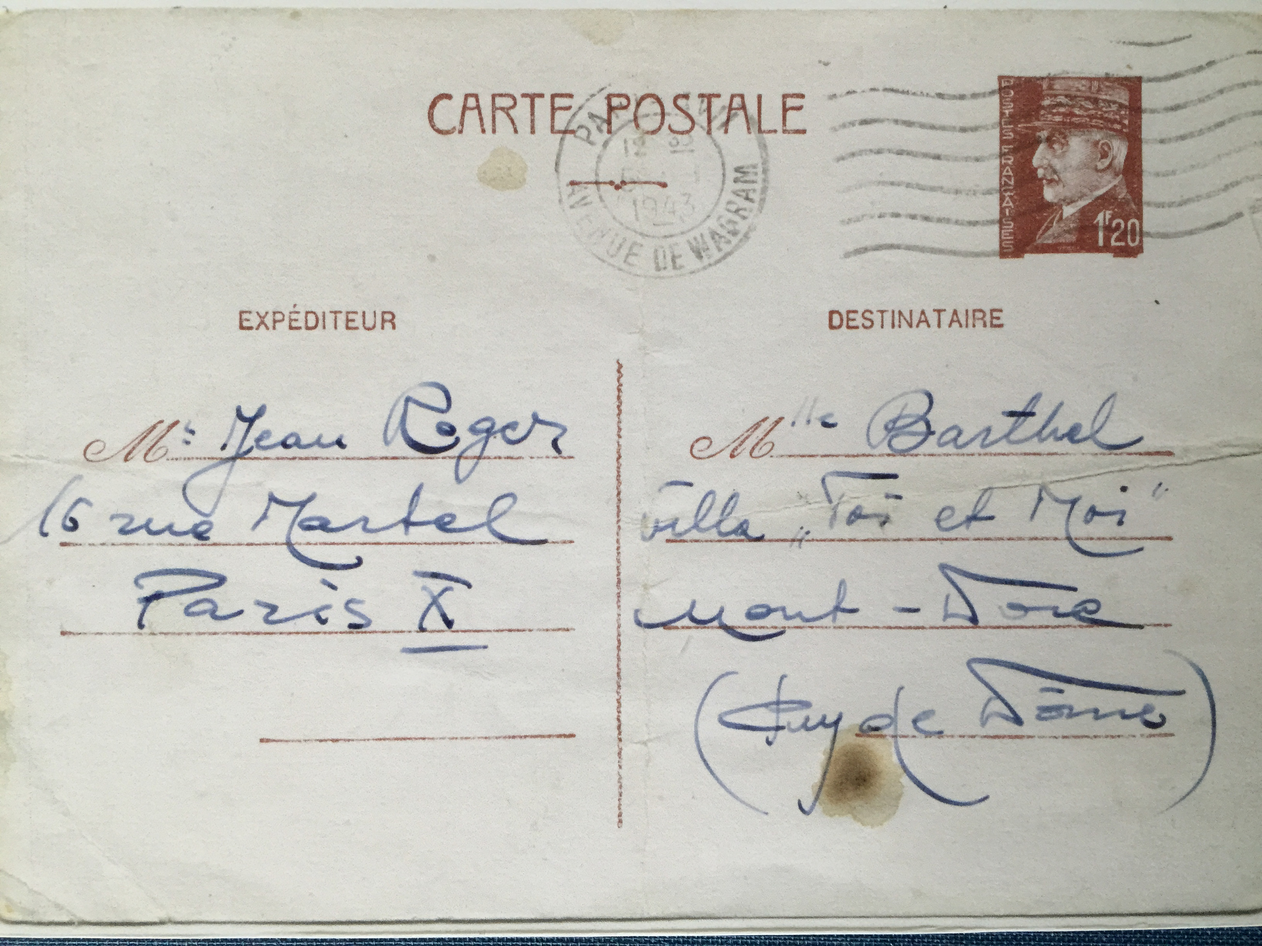 A postcard addressed to the Barthels, the name given to the Finkielsztajns while they were in hiding. (Muriel Hasbun archive.)