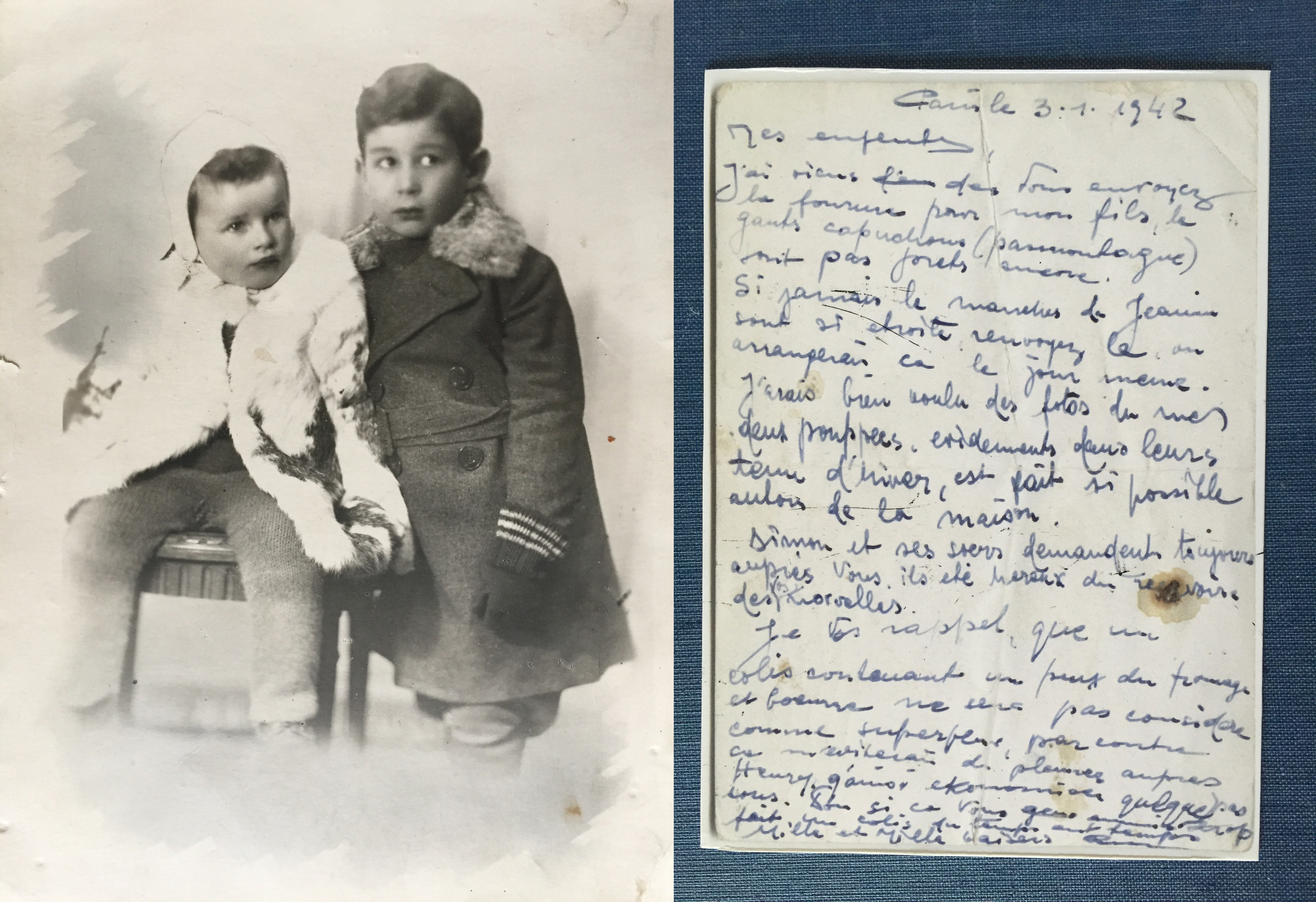 """A photograph of Janine and her brother Léon while they were in hiding as requested in the letter on the right from Janine's father, asking to see his """"babies"""" in the winter coats he had sent them. (Photos:Muriel Hasbun archive.)"""