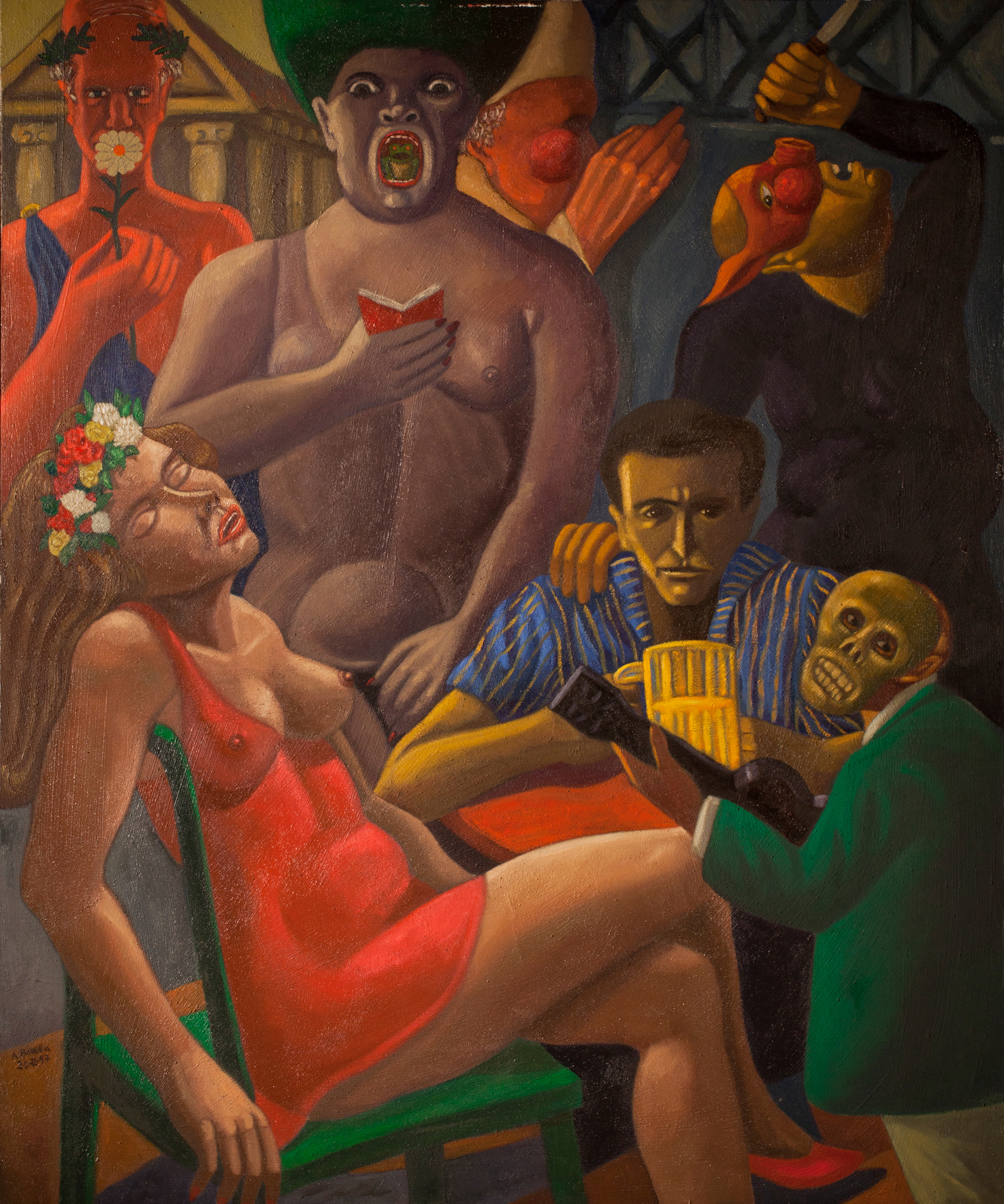 """Antonio Bonilla, one of the artists from Janine's gallery, made intense work reflecting the civil war. This painting is titled, """"Under the Shadow of the Temple of Justice"""" (""""Bajo la sombra del templo de la justicia"""" in the original Spanish). (Copyright: laberinto projects archive.)"""