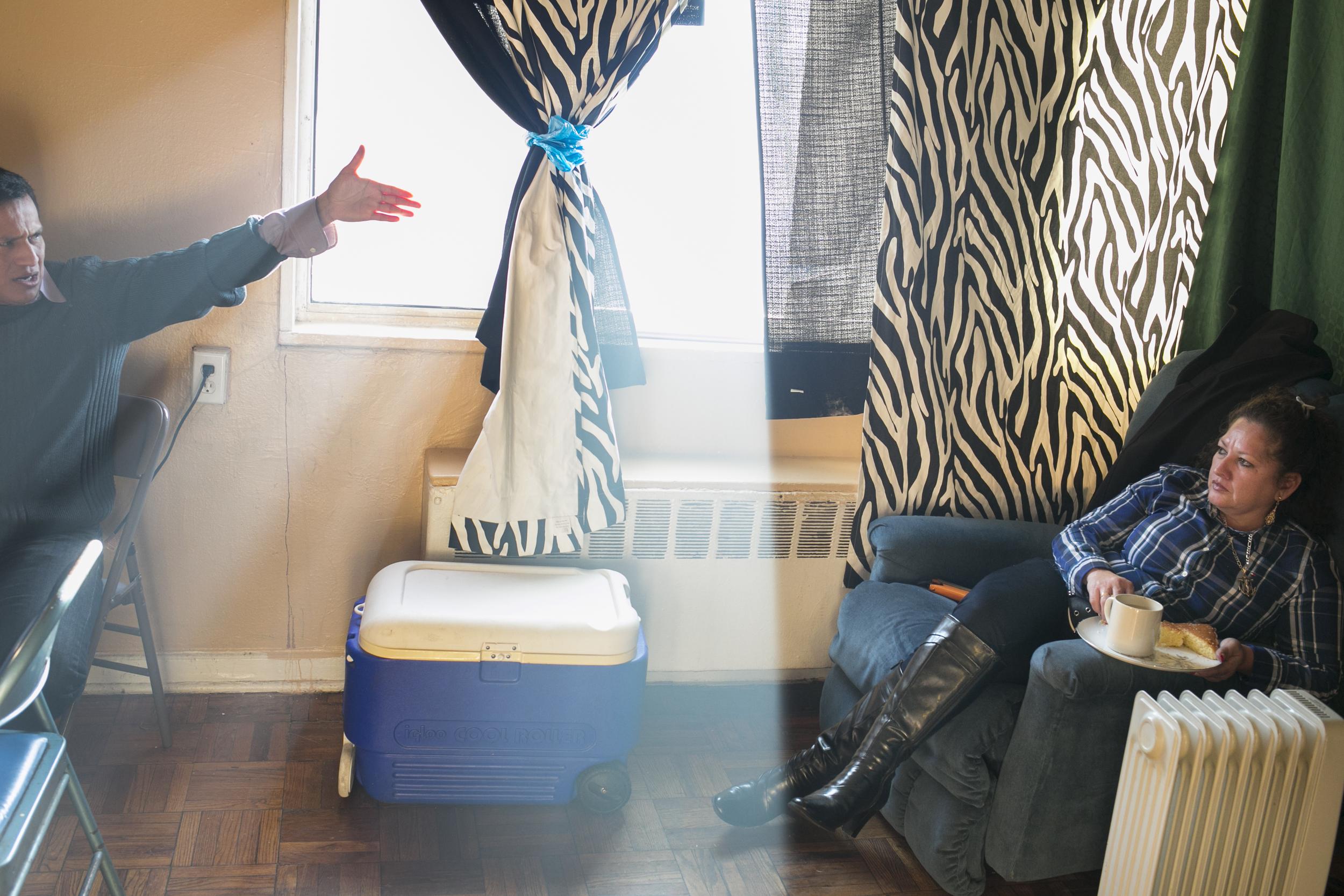 Marina Hoya visits her husband and children in Maryland.
