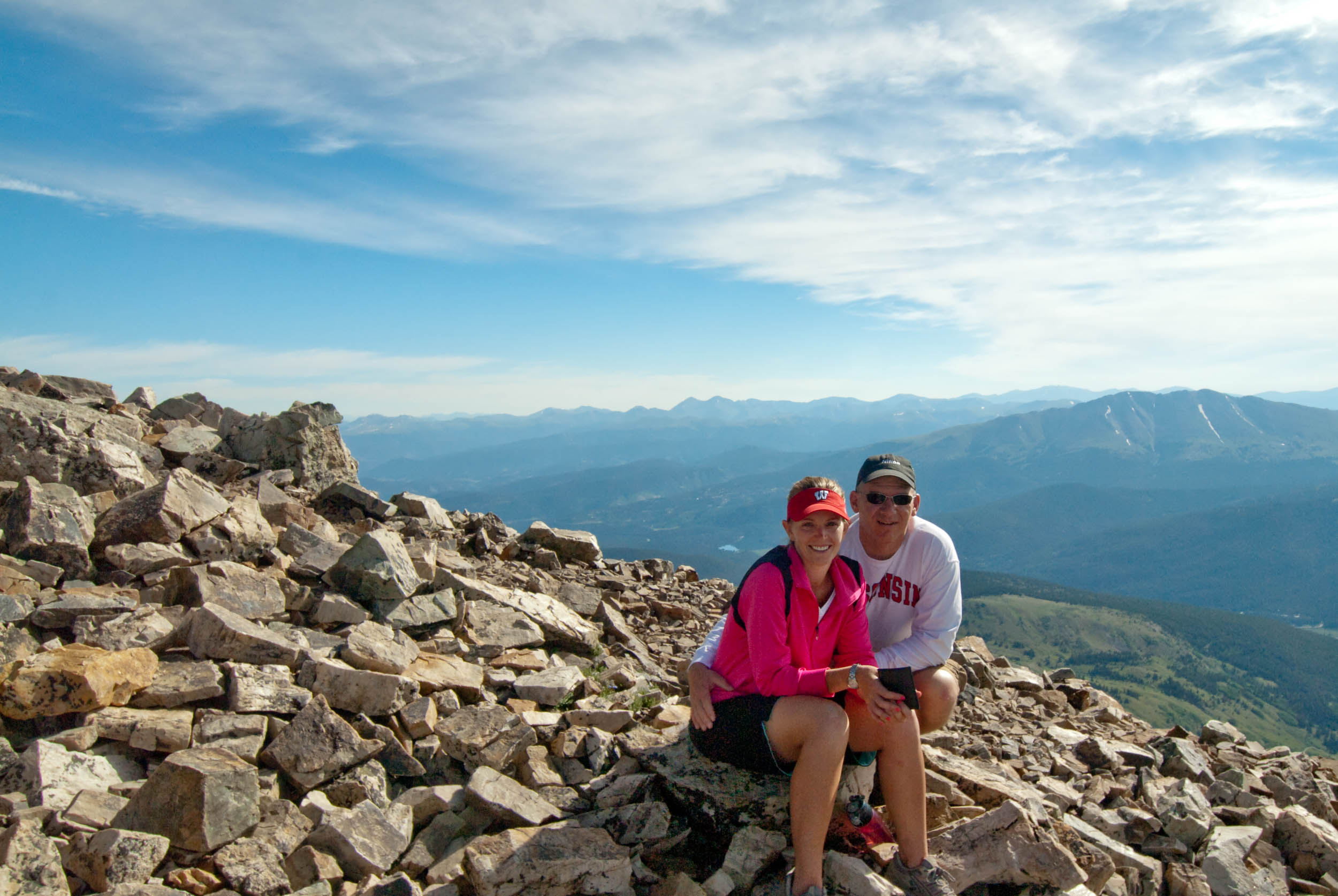 My wife, Sarah, and I near the top of Quandary Peak, Breckenridge, CO.