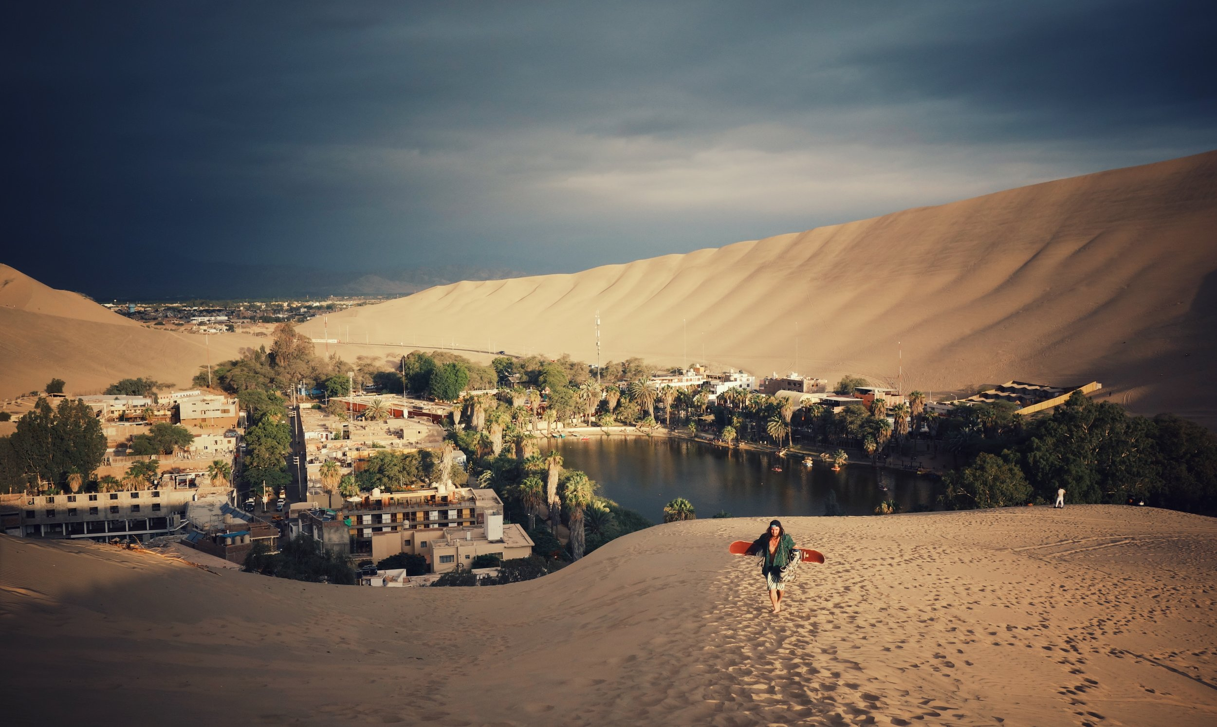 Looking down on Huacachina. The EcoCamp is visible on the far right edge.