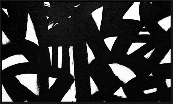 "Black & White #18, 2015, acrylic on canvas, 48"" x 84"" (121.9 x 213.4 cm)"