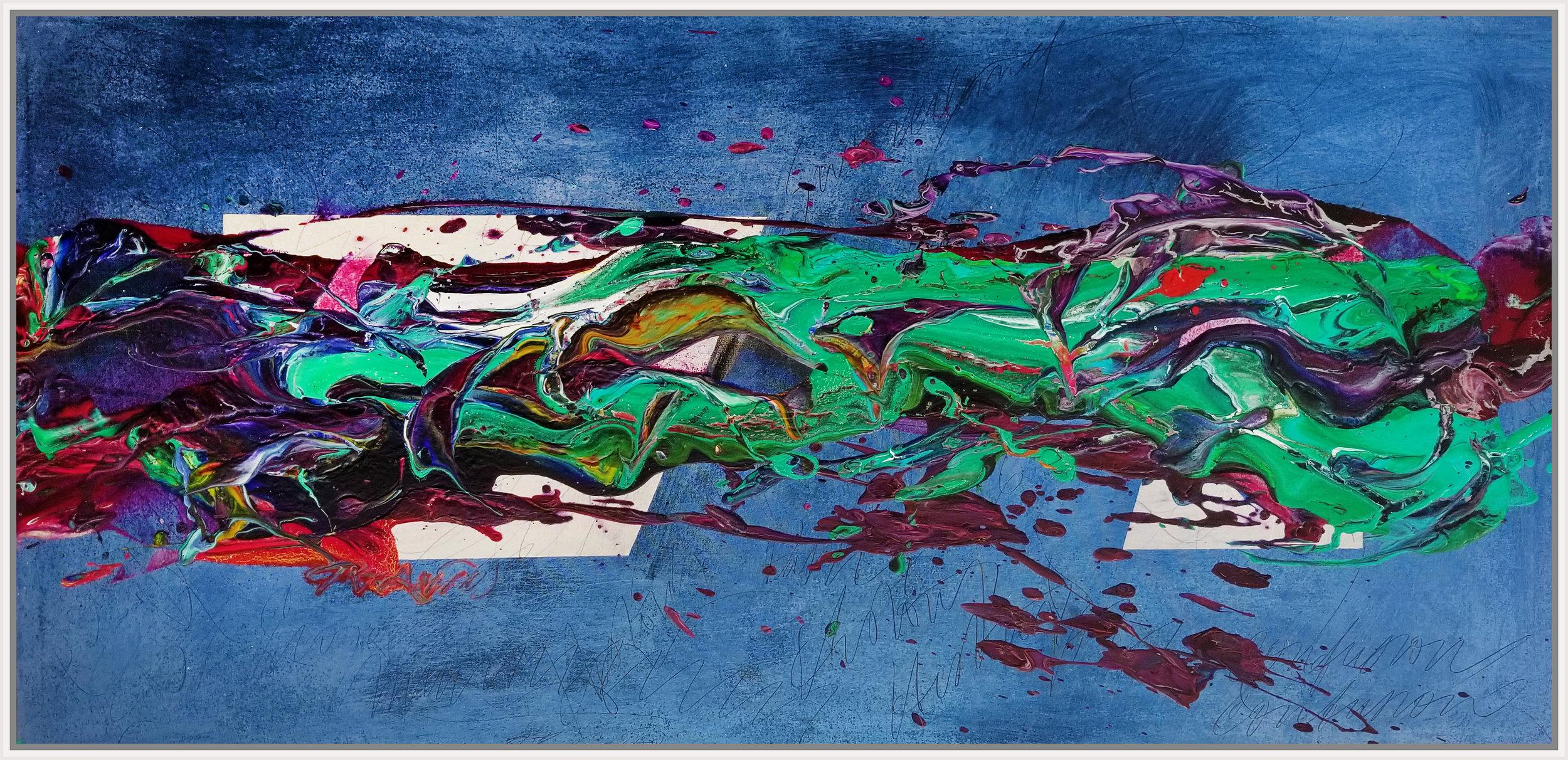 "Under the Lights #2, 2018, acrylic on canvas, 29"" x 59"" (73.7 x 150 cm)"