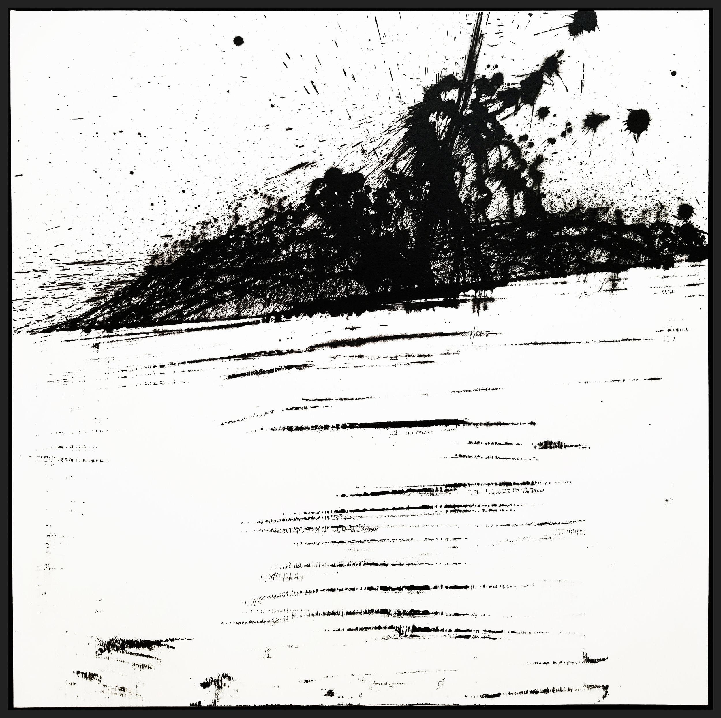 "Black & White #11, 2018, acrylic on canvas, 48"" x 48"" (122 x 122 cm)"