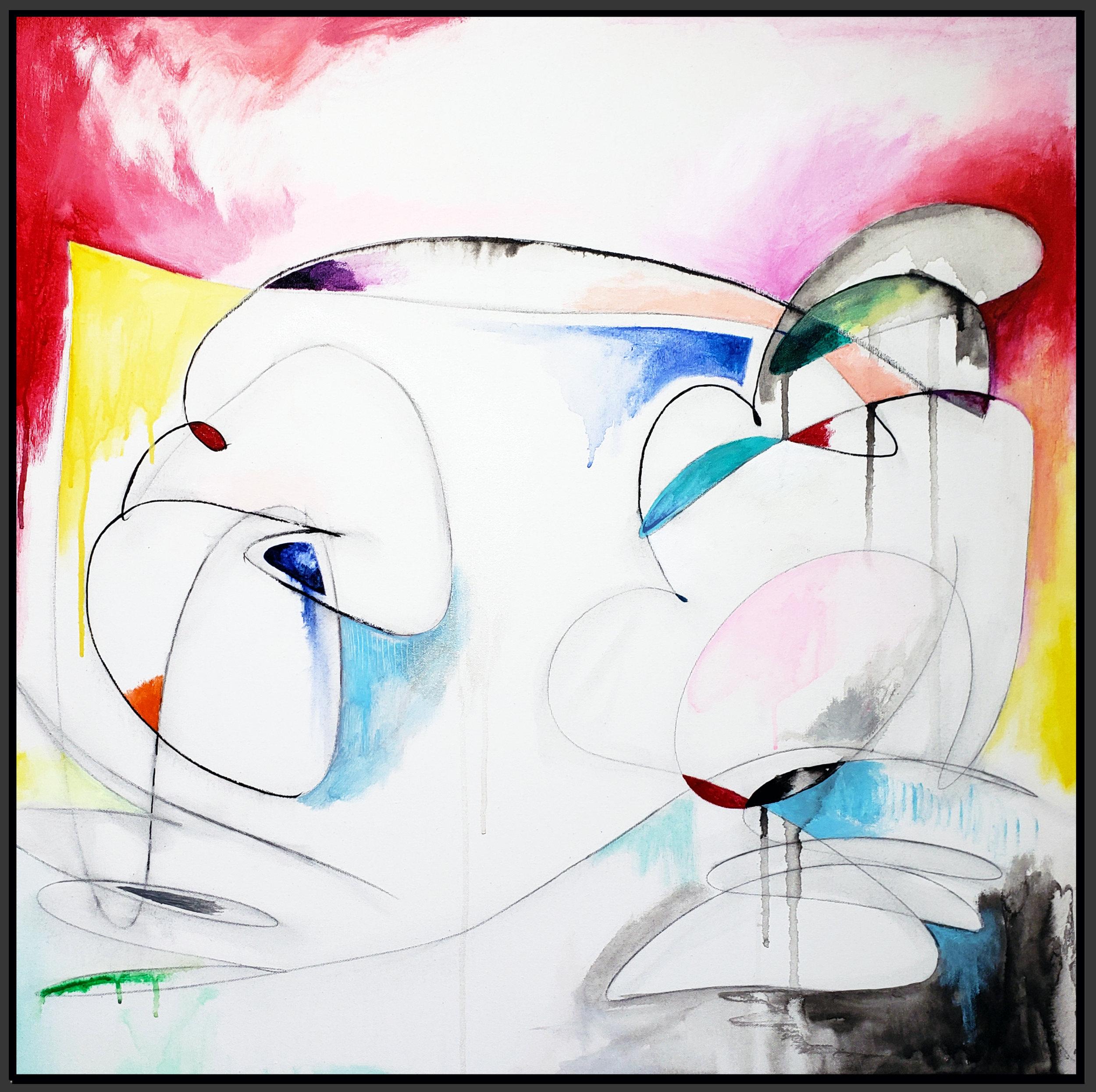 "Untitled#100, 2019, acrylic on canvas, 30"" x 30"" (76 x 76 cm)"