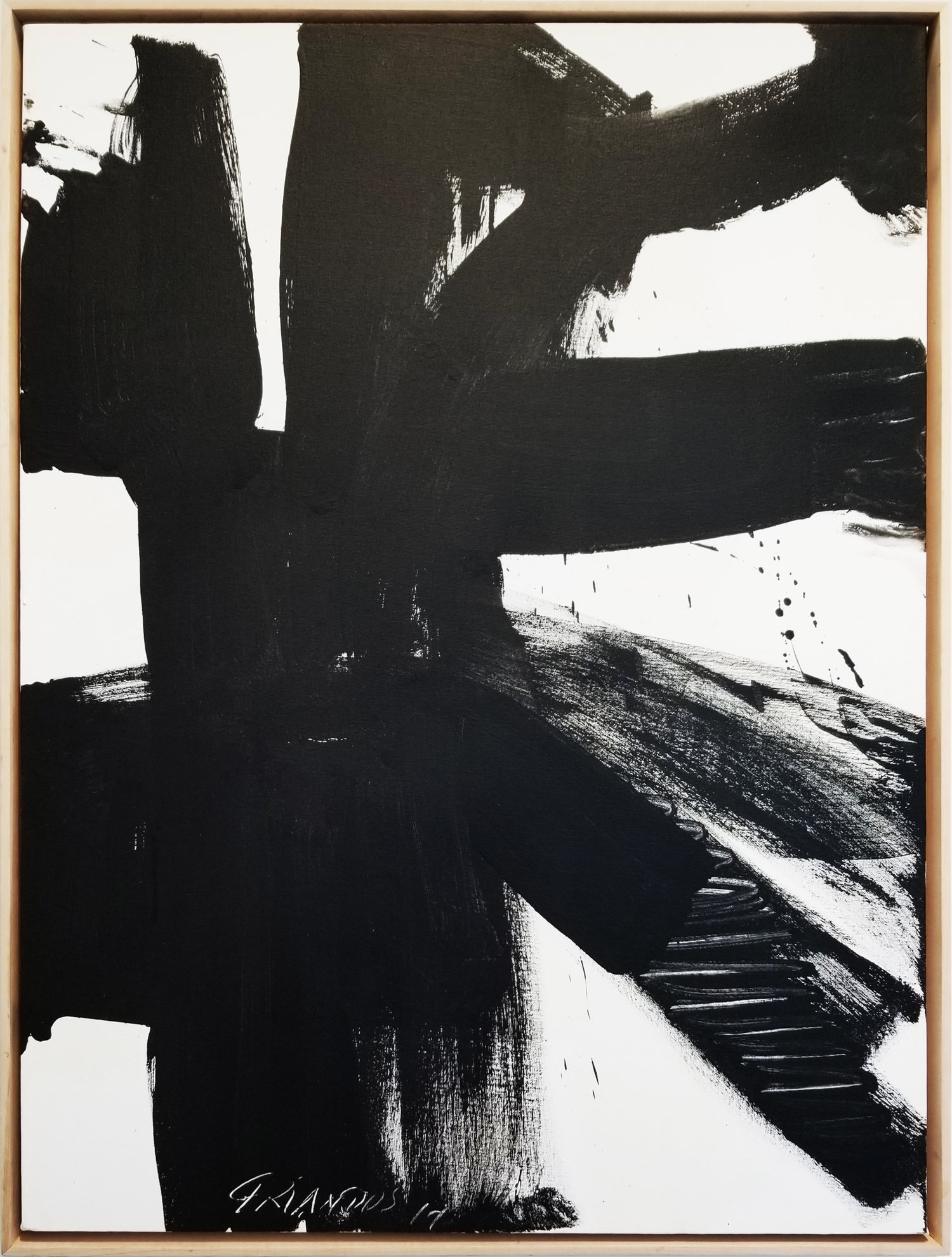 """Black and White #3, 2017, acrylic on canvas, 40"""" x 30"""" (101.6 x 76 cm)"""